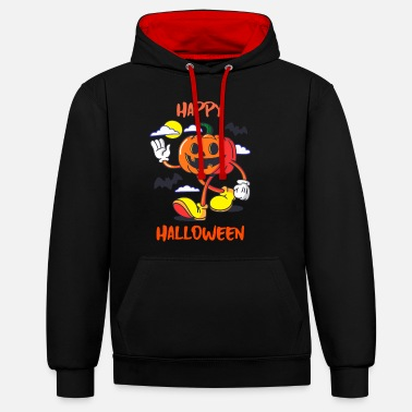 Hello Halloween cartoon pumpkin gift - Unisex Contrast Hoodie