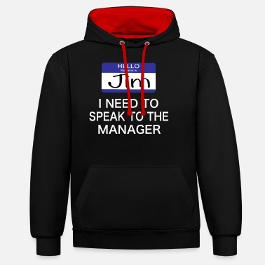 Cool Story Hello my name is jim Manager Halloween costume - Unisex Contrast Hoodie