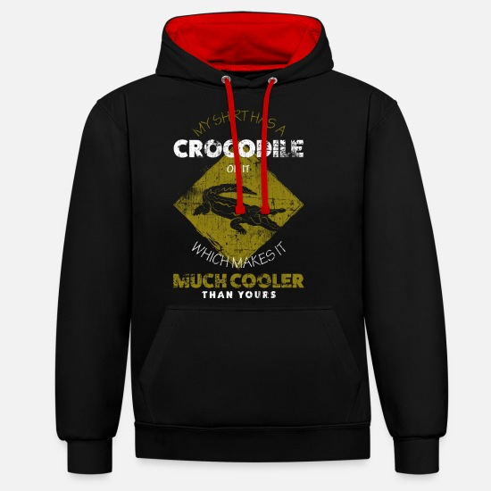 Crocodile Hoodies & Sweatshirts - alligator - Unisex Contrast Hoodie black/red