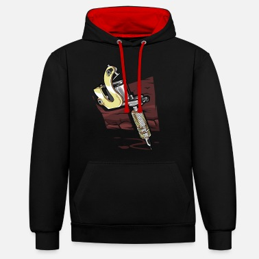 India Tattoo Machine - tattoo artist ink skin - Unisex Contrast Hoodie