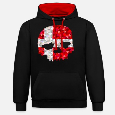 Skull Denmark low poly style - Unisex Contrast Hoodie