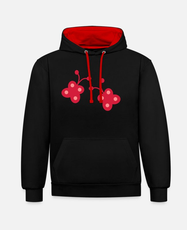 Two-wheeled Hoodies & Sweatshirts - Two butterflies - Unisex Contrast Hoodie black/red