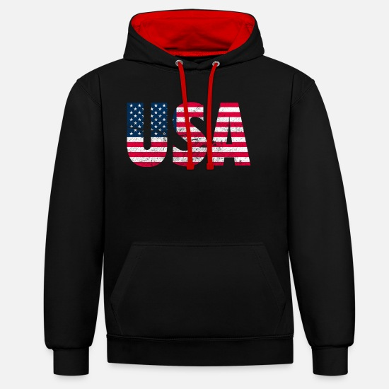 York Sweat-shirts - usa utilisée regard amérique j'aime New York - Sweat à capuche contrasté unisexe noir/rouge
