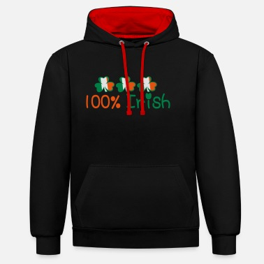 Uk Underwear ♥ټ☘Kiss Me I'm 100% Irish-Irish Rule☘ټ♥ - Unisex Contrast Hoodie