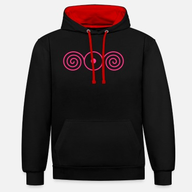 Open LIGHT IN THE HEART, vector, sun sign with spirales - Unisex Contrast Hoodie