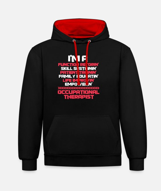 Bless You Hoodies & Sweatshirts - occupational therapists - Unisex Contrast Hoodie black/red