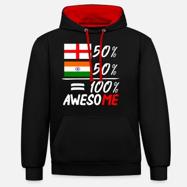 India Half English Half Indian - Unisex Contrast Hoodie