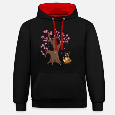 German German Shepherd Dog Japanese Cherry Blossom Tree - Unisex Contrast Hoodie