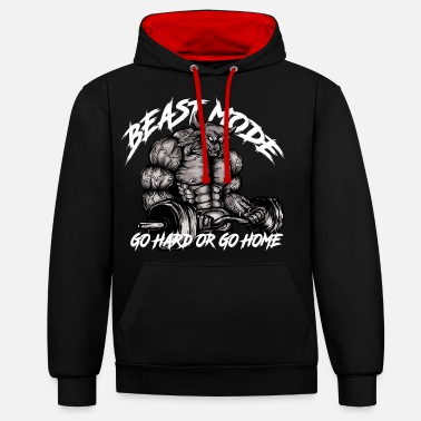 Mode Gym Bull - Beast Mode - Unisex Contrast Hoodie