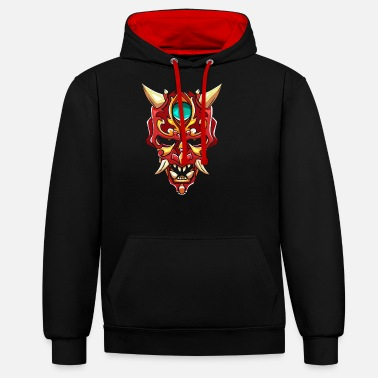 Diable Hannya Mask Devil Demon Yokai Gift - Sweat à capuche contrasté unisexe