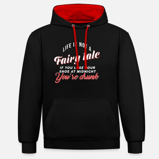 Fairy Tale Figure Hoodies & Sweatshirts - Fairy tale party dancing shoes drunk gift - Unisex Contrast Hoodie black/red