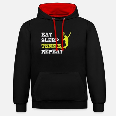 Ass Tennis serve Eat Sleep Tennis Repeat - Unisex Contrast Hoodie