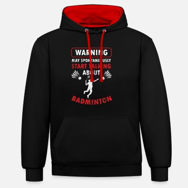 Badminton Badmintoon Serve Racquet Court Racket Rally - Unisex Contrast Hoodie