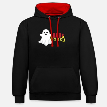 Presentera Hallows Eve Gift Bad And Boozy Ghostly Ghost - Kontrast hoodie unisex
