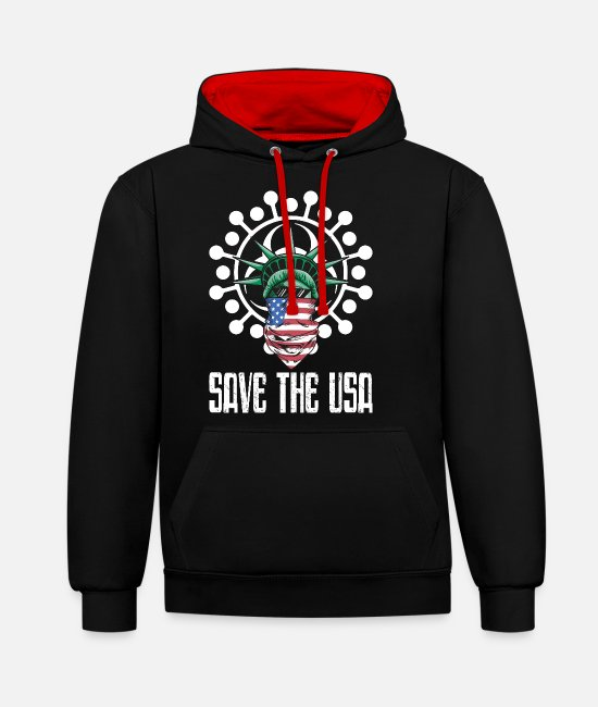 Influenza Hoodies & Sweatshirts - Save the USA - Unisex Contrast Hoodie black/red