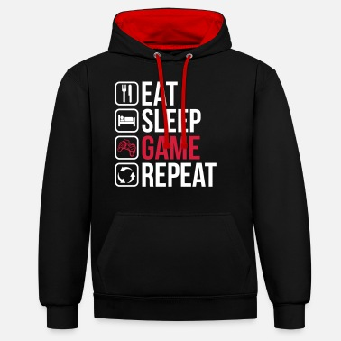 Gamer Spis Sleep Game Repeat - Unisex kontrast hættetrøje