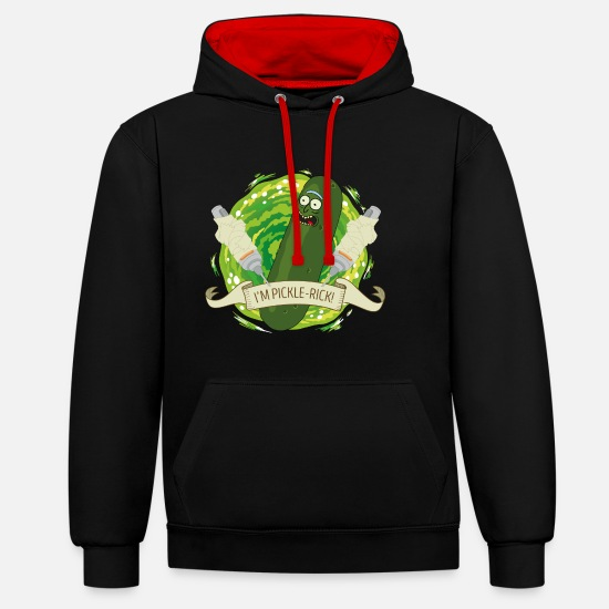 Rick Pullover & Hoodies - Rick And Morty I'm Pickle-Rick Gurken-Rick - Unisex Hoodie zweifarbig Schwarz/Rot