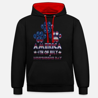 Independence Paw Dog America 4th Of July Independence Day - Unisex Contrast Hoodie