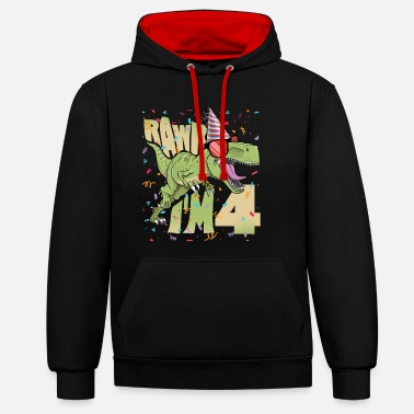 Production Year Kids 4th Birthday, 4 Year Old Print. TRex, - Unisex Contrast Hoodie