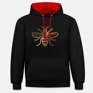 Worker Manchester Bee - Brushed Metal Effect Print - Unisex Contrast Hoodie