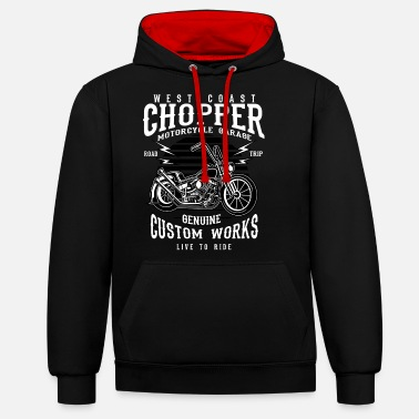 Chopper WEST COAST CHOPPER - Chopper motorbike shirt design - Unisex Contrast Hoodie
