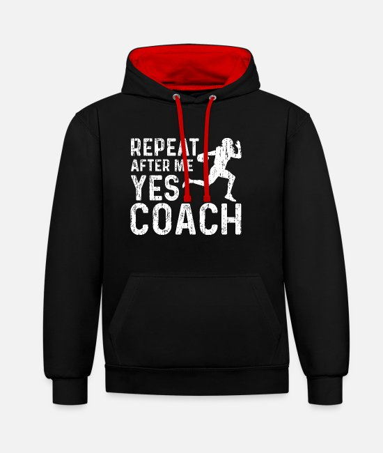 Ball Pullover & Hoodies - Repeat After Me Yes Coach - American Football - Unisex Hoodie zweifarbig Schwarz/Rot