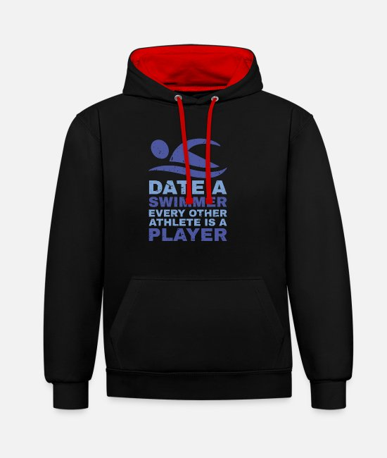 Ass Hoodies & Sweatshirts - Funny date a swimmer design. - Unisex Contrast Hoodie black/red