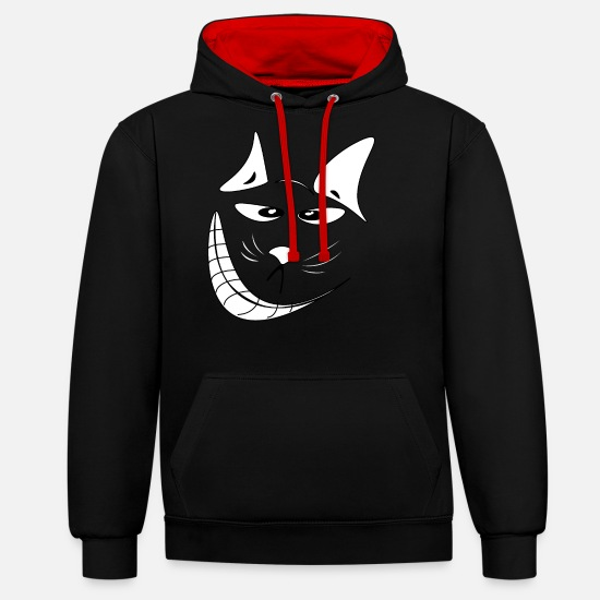 Animal Hoodies & Sweatshirts - Naughty cat - Unisex Contrast Hoodie black/red