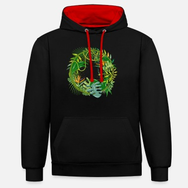 Jungle mysterious jungle with many plant species - Unisex Contrast Hoodie