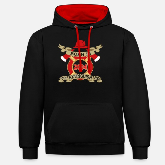 Fire Hoodies & Sweatshirts - Born 2004 Fire Fire Department - Unisex Contrast Hoodie black/red