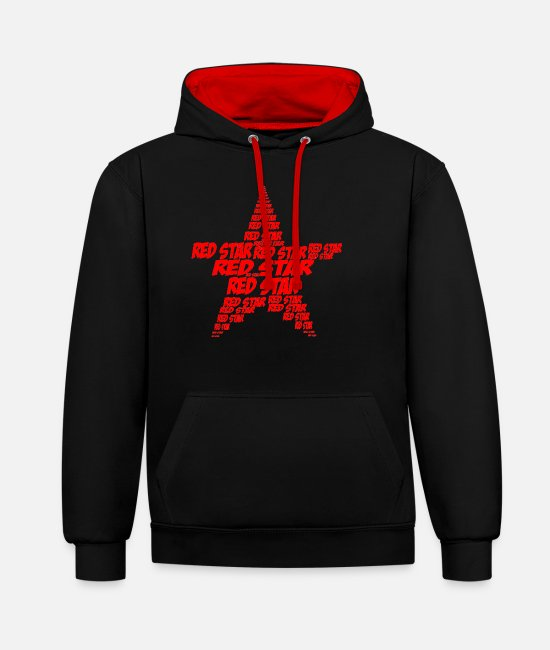 Red Hoodies & Sweatshirts - red star - Unisex Contrast Hoodie black/red