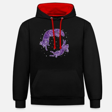 Fox and rabbit - constellation - Unisex Contrast Hoodie