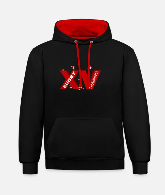 Training Hoodies & Sweatshirts - XV TRAINING - Unisex Contrast Hoodie black/red