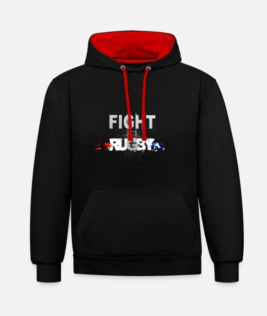 Lyon Rugby Toulousain Hoodies & Sweatshirts - RUGBY FIGHT RUGBY - Unisex Contrast Hoodie black/red
