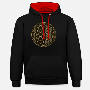 Geometry Flower of Life - Flower of Life T-Shirt & Access - Unisex Contrast Hoodie