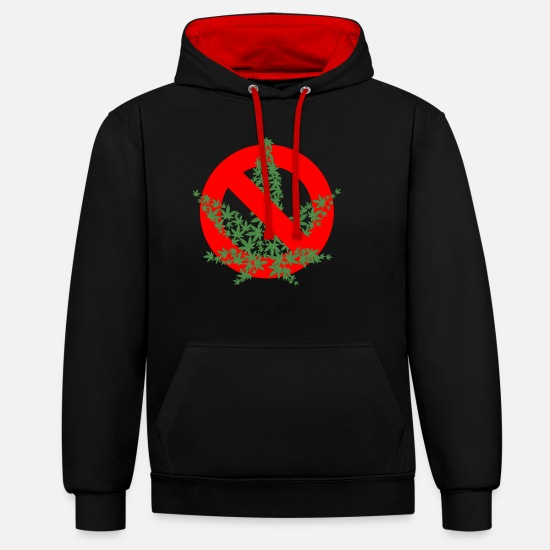 Marijuana Hoodies & Sweatshirts - NO SMOKING - Unisex Contrast Hoodie black/red