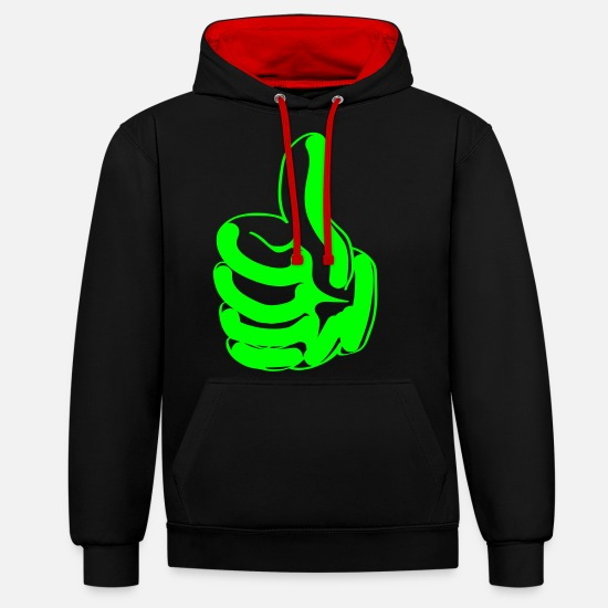 Stylish Hoodies & Sweatshirts - thumbs up - Unisex Contrast Hoodie black/red