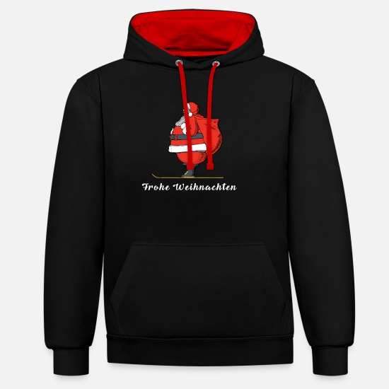 Familie Pullover & Hoodies - Weihnachten | Frohe Weihnachten | Weihnachtsmann - Unisex Hoodie zweifarbig Schwarz/Rot
