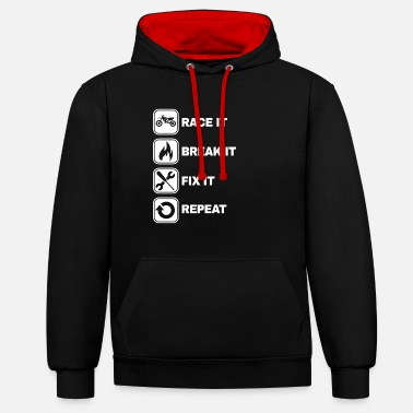 Bike Race It Break It Fix It Repeat Motocross-cadeau - Unisex contrast hoodie