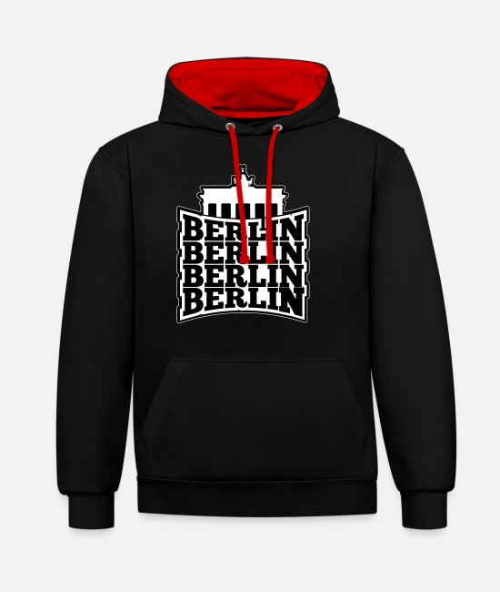 Spandau Hoodies & Sweatshirts - BERLIN Berlin T-Shirt with Brandenburg Gate - Unisex Contrast Hoodie black/red