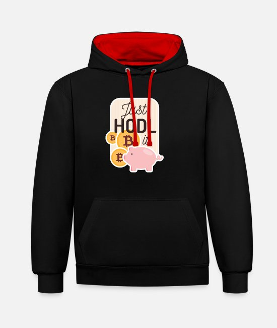 Mining Hoodies & Sweatshirts - BTC Bitcoin Just Hodl it Crypto Piggy Bank - Unisex Contrast Hoodie black/red