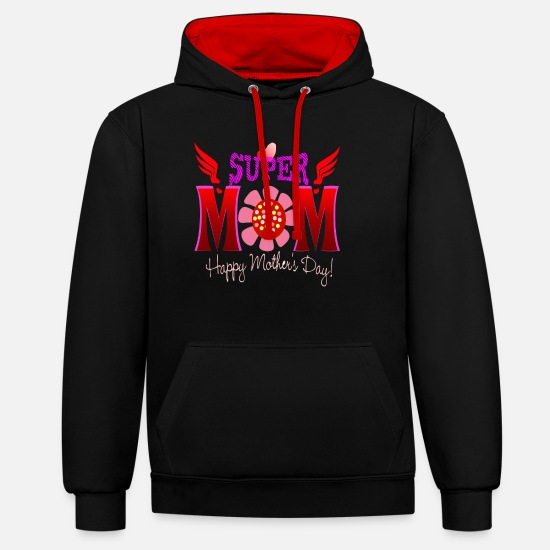 Gift Pullover & Hoodies - Super Mom a gift for Dearest cherish - Unisex Hoodie zweifarbig Schwarz/Rot