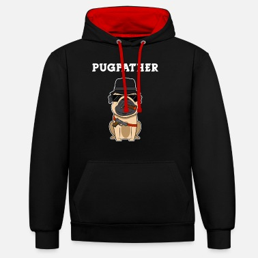 Gangster Mafia gangster pug with cigar gift - Unisex Contrast Hoodie