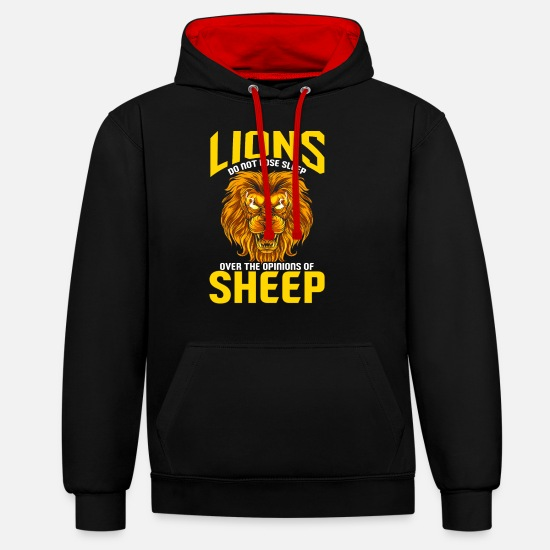 Selfconfidence Hoodies & Sweatshirts - Lions Do Not Lose Sleep Over The Opinions Of Sheep - Unisex Contrast Hoodie black/red
