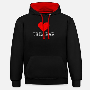 I Heart Karaoke Heart this bar | Love this bar - Unisex Contrast Hoodie