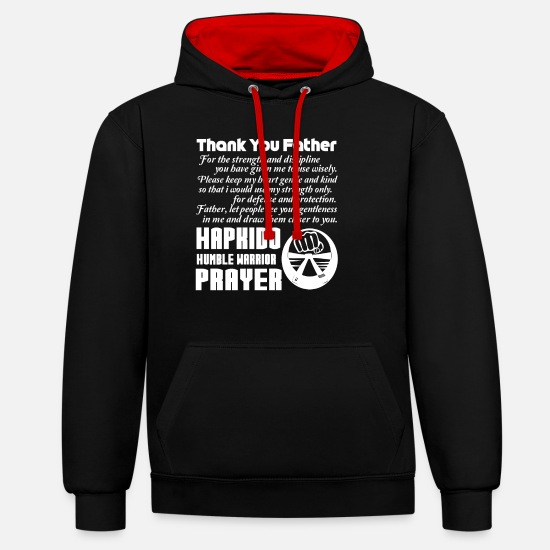 Chemises Hapkido Sweat-shirts - Hapkido Humble Warrior Prayer - Sweat à capuche contrasté unisexe noir/rouge