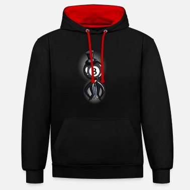 8 Ball Billiard Guy - Unisex Contrast Hoodie