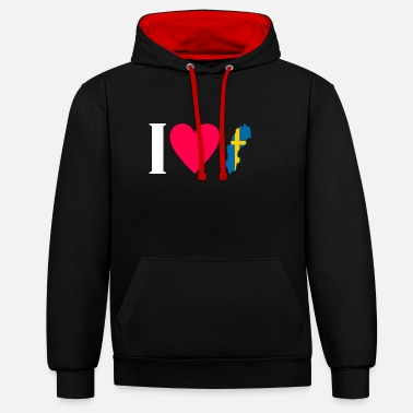 Il love you Sweden Sweden gift idea - Unisex Contrast Hoodie