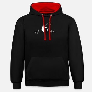 Fish angler heartbeat design for fishing - Unisex Contrast Hoodie