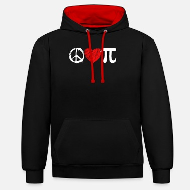 Love Pi Day Pi Day Peace Love Pi - Unisex Contrast Hoodie